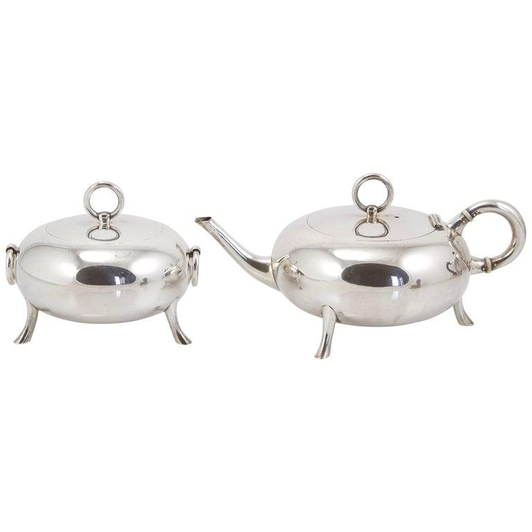 Art Nouveau Silver Sterling Egoiste Tea Set by Ravaud, circa 1900