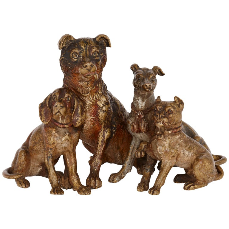 Antique Viennese Cold Painted Bronze Dogs, Attributed to Bergman 1