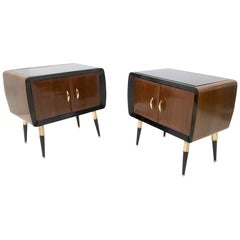 Pair of Mahogany Nightstands with Back-Painted Glass Top, Italy, 1950s