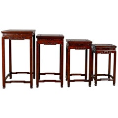 Nest of Tables, Oriental Influence, Chinese Rosewood, Side, Late 20th Century