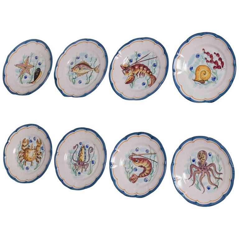 Set Eight Italian Hand-Painted Dinner Plates, Vietri