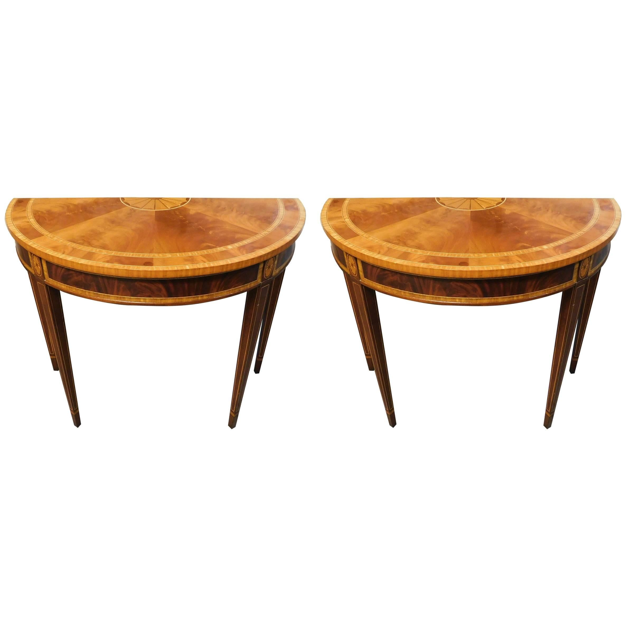 Pair Of Councill Craftsman Half Moon Inlaid Tables For Sale