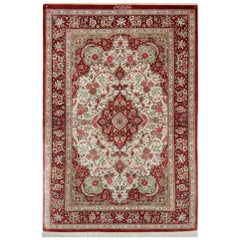 Red Handmade Pure Silk Rugs, Persian Rugs from Qum