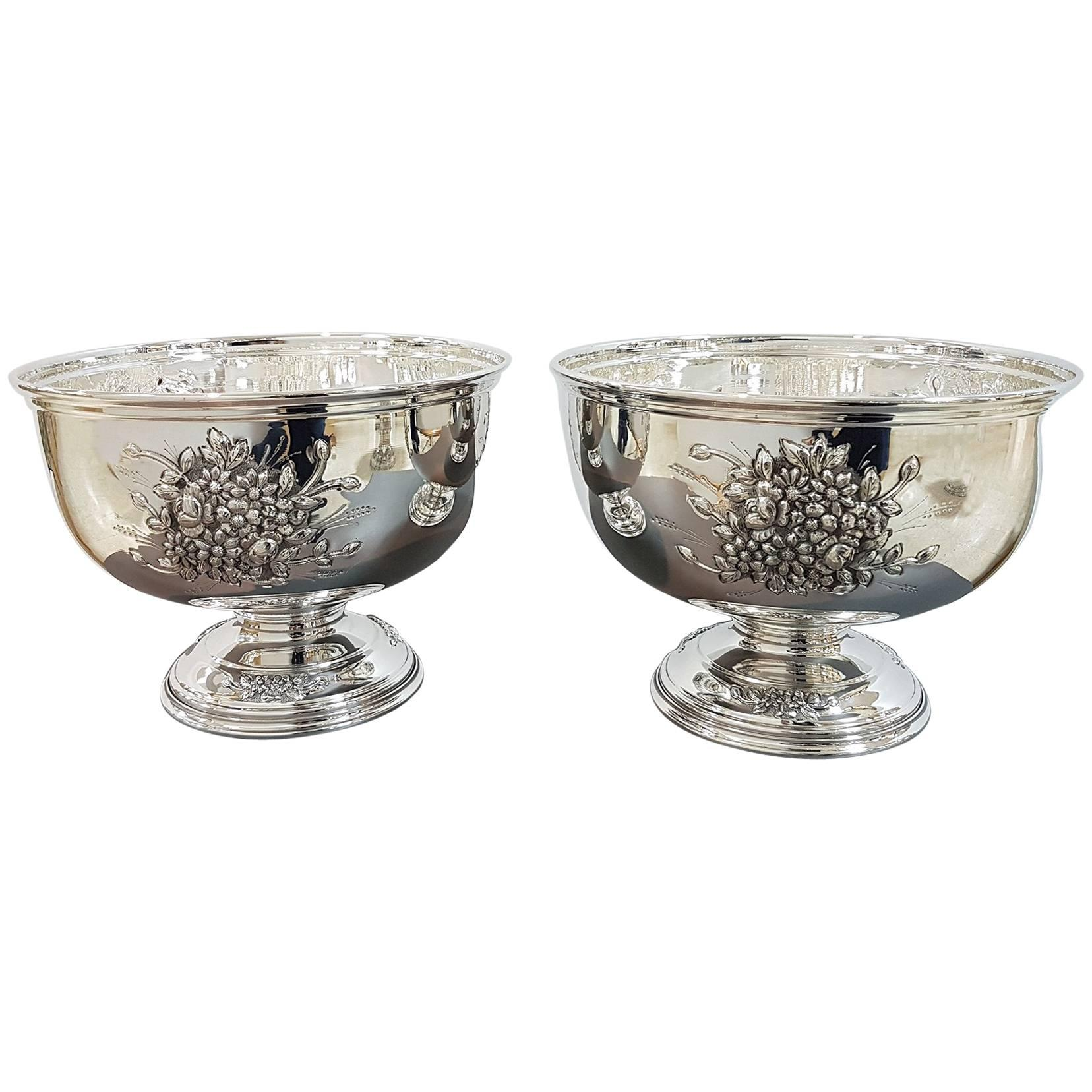 20th Century Italian Silver Centerpieces Embossed and Chiselled with Flowers