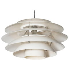 Stilnovo #1262 Large White Metal Pendant Light, Italy, 1960s