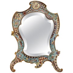 Belle Époque Period Brass and Champlevé Enamel Table Mirror