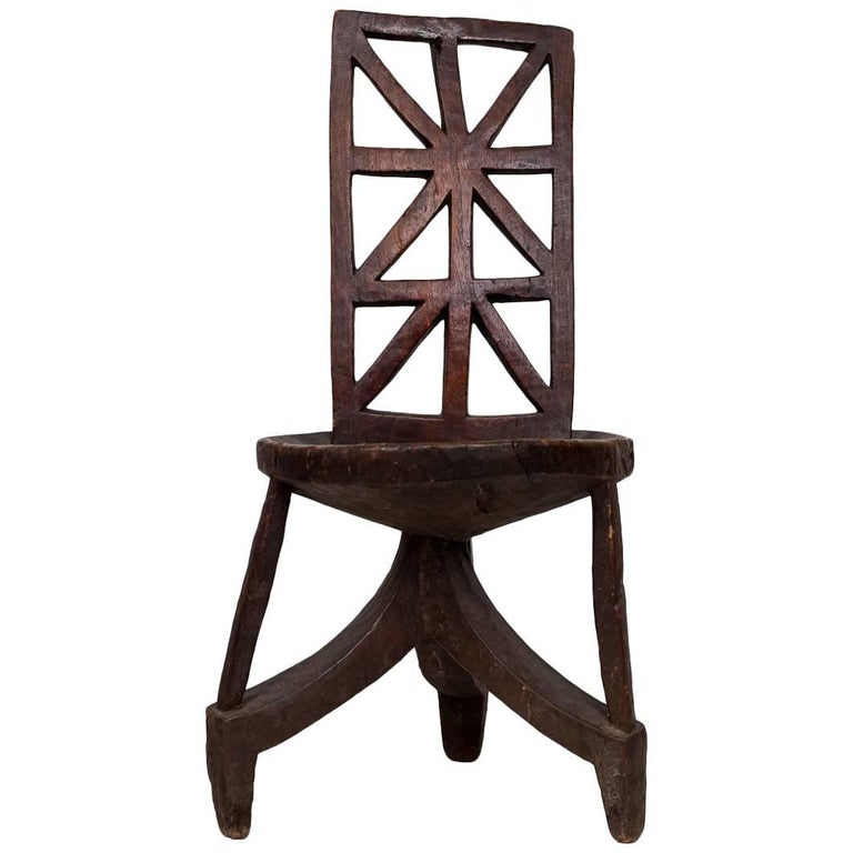 Antique Side Chair from Ethiopia with Lattice Back