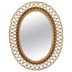 Spanish Mid-20th Century Mediterranean Two-Tone Wicker Flower Burst Oval Mirror