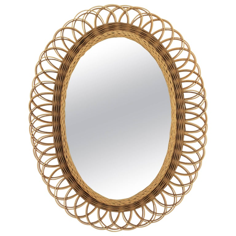 Spanish Mid-20th Century Mediterranean Two-Tone Wicker Flower Burst Oval Mirror