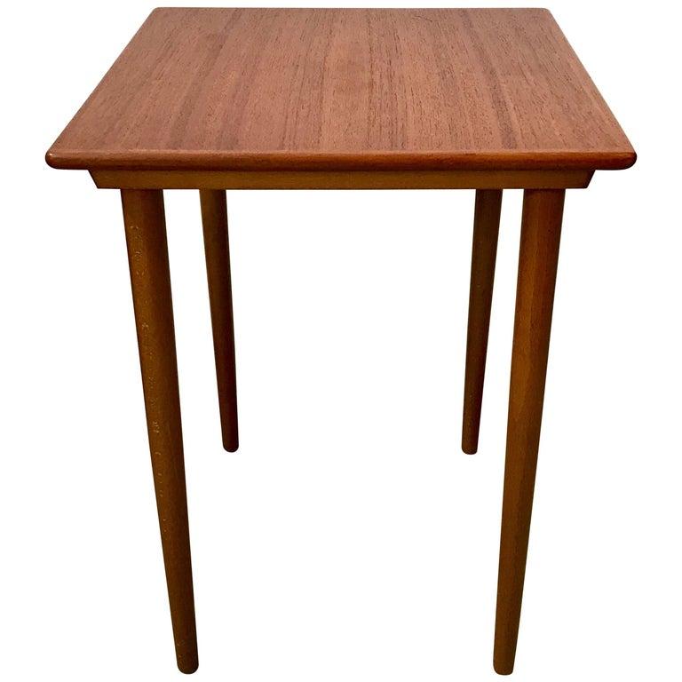 Small Mid Century Modern Tapered Leg Teak Side Table Denmark For