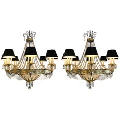 Pair of Art Deco Palatial Eight-Arm Ebony and Brass Chandeliers with Shades