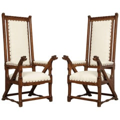 Norwegian Arts & Crafts Armchairs with Dog Heads, a Pair 'Two', circa 1890