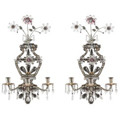 Turn-of-the-Century, French, Crystal Sconces