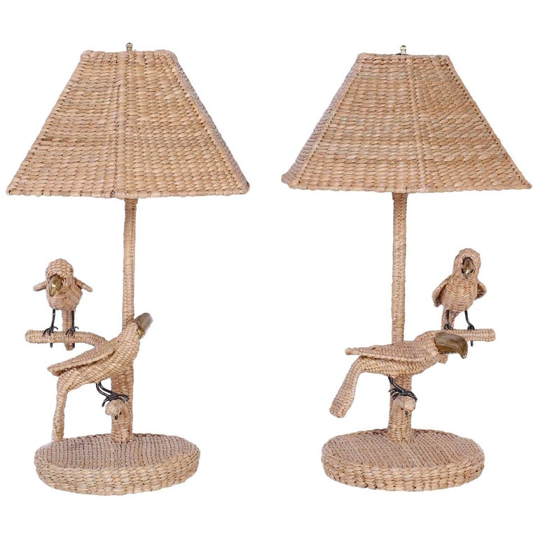 Pair of Mario Torres Wicker Parro and Toucan Bird Table Lamps