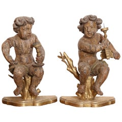 Pair of 17th Century Italian Carved Putti