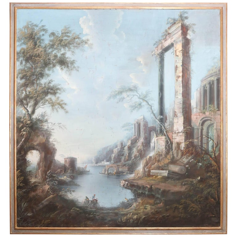 Large 19th Century Italian Landscape Painting