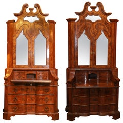 Near Identical Pair of Venetian Walnut Secretaire with Inlay