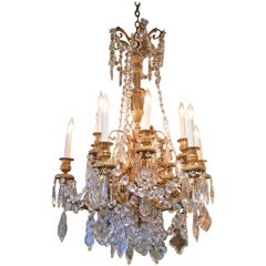 Antique French Bronze Doré and Baccarat Crystal Chandelier, circa 1890