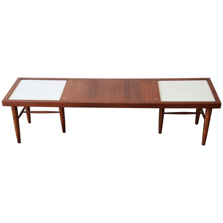 American Of Martinsville Mid Century Coffee Table: Pair Of Walnut End Tables By Merton Gershun For American