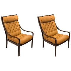 Danish Modern Pair of Tall Back Leather and Rosewood Armchairs