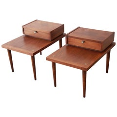 Merton Gershun for American of Martinsville Mid-Century Modern Walnut End Tables
