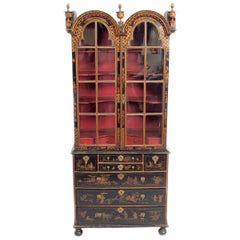 Period Queen Anne Japanned / Chinoiserie Cabinet on Chest
