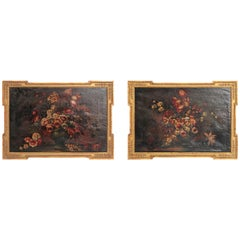 Pair of Framed Floral Still-Life Paintings / 19th Century Continental
