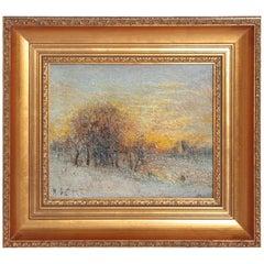 """Winter Landscape at Sunset"" by Austrian Karl Eugene Felix"