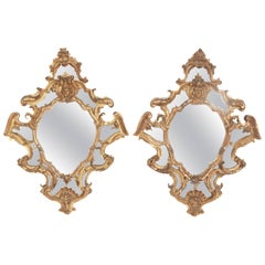 Venetian Mirror Pair / Carved and Gilded Wood