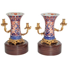 Pair of 19th Century Ormolu Mounted Imari Vases with Mahogany and Marble Stands