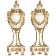 Pair of Louis XVI Style Ormolu-Mounted Marble Cassolettes