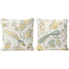 "Schumacher Campagne French Floral Cadet Citron Two-Sided 18"" Pillows, Pair"