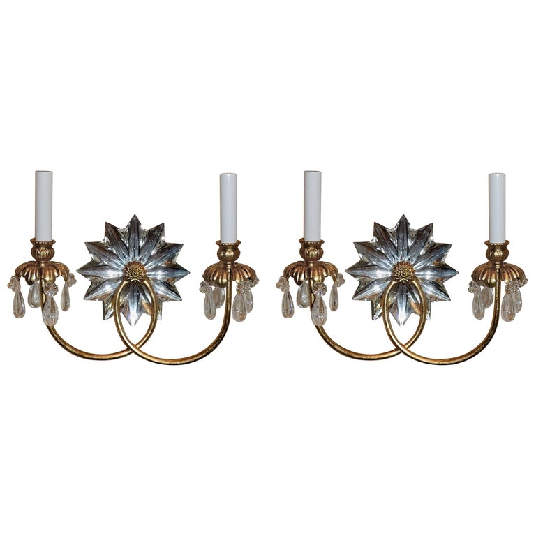 Wonderful Pair of Mid-Century Modern Star Rock Crystal Gold Gilt Baguès Sconces