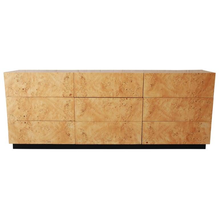 Milo Baughman for Thayer Coggin Burl Wood Long Dresser or Credenza