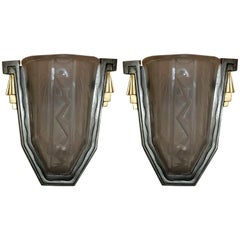 Wonderful Pair of Art Deco Frosted Glass Brushed Nickel Gilt Bronze Wall Sconces