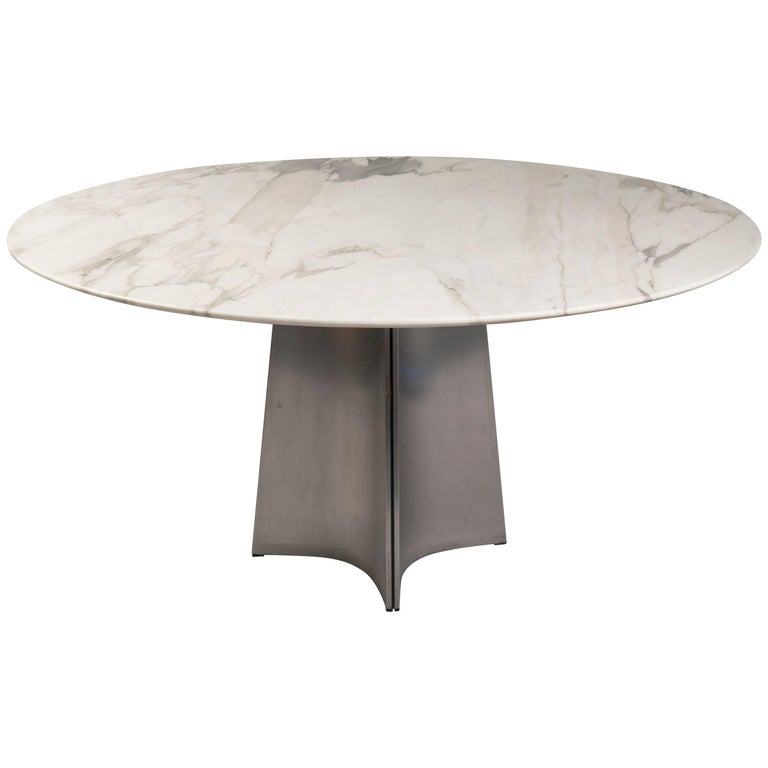 Marble and Steel Centre Table by Maison Jansen, France, 1970s