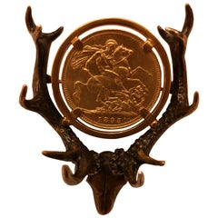 Austrian Antler Brooch with English Gold Medal