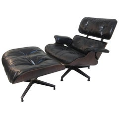 Charles Eames Rosewood for Herman Miller Lounge and Ottoman with Down Cushions