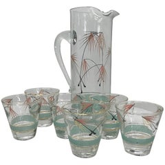 Mid-Century Modern Set of Six Glasses and Pitcher