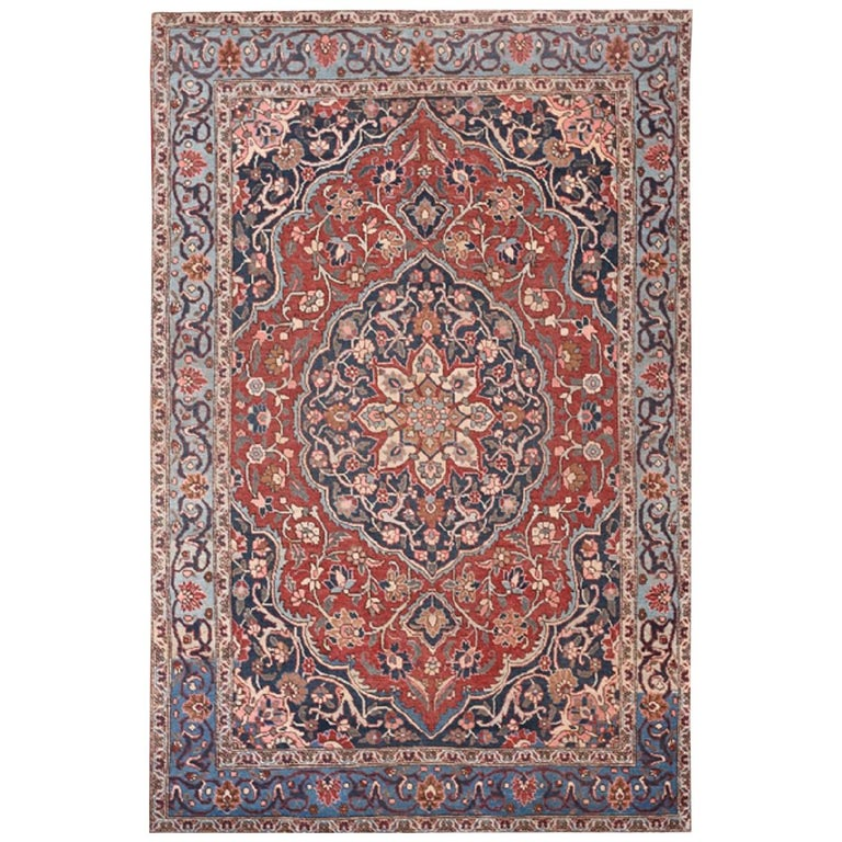 Handwoven Tabriz Rust Colored Field And Navy Border For