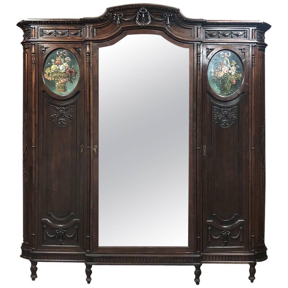 19th Century Italian Walnut Louis XVI Triple Armoire