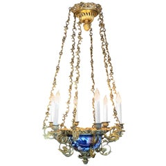 Antique French Bronze and Gold Imari Porcelain Chandelier