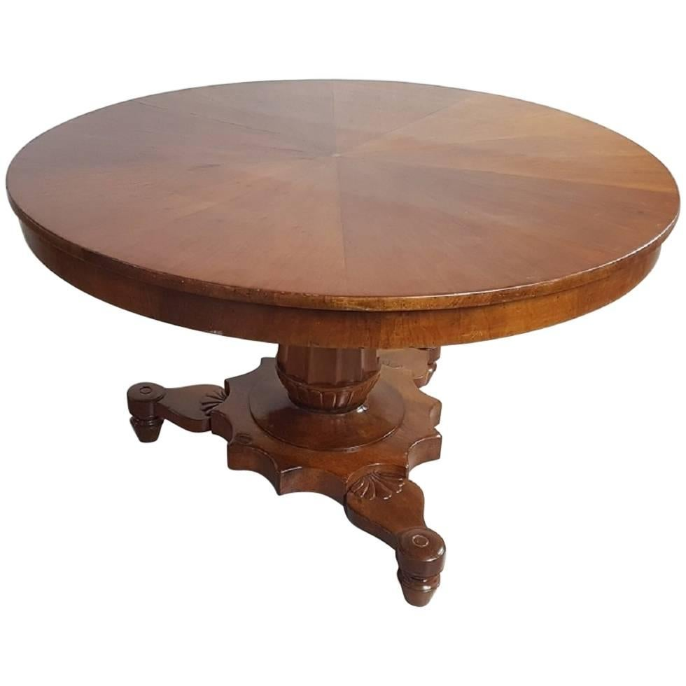 19th Century Italian Empire Walnut Carved Inlay Round Table For Sale