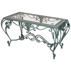 Antique Wrought Iron Glass Top Coffee Table