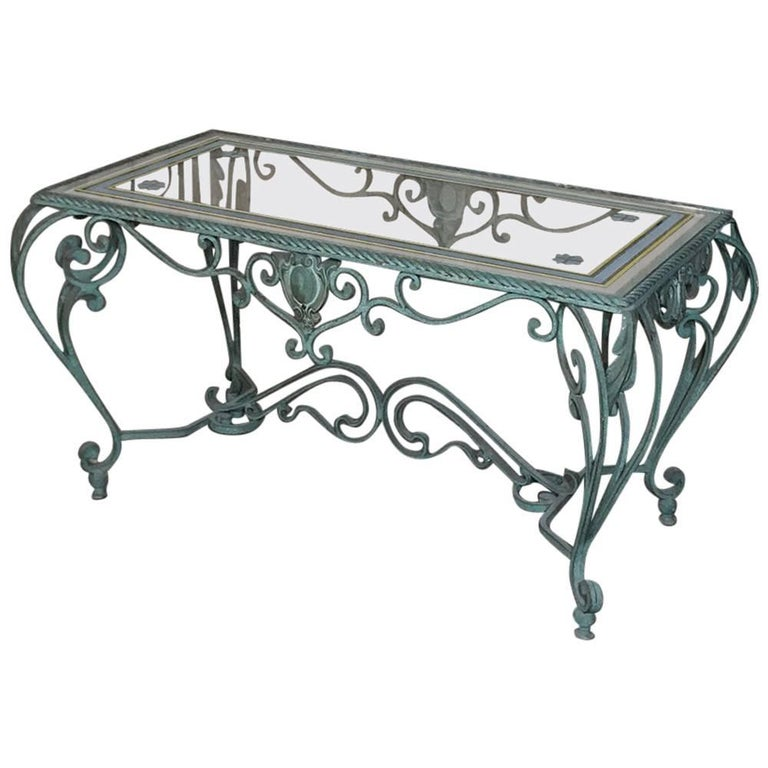Antique Wrought Iron Glass Top Coffee Table At 1stdibs
