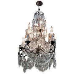 Antique Italian Art Deco Period Cut Crystal Chandelier