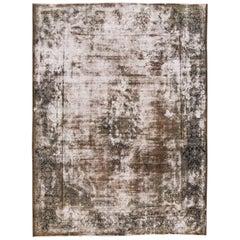 Antique Distressed Gray Persian Kerman Rug, 10x13.03