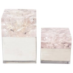 Pair of  Vintage French Sculptural Embedded Lucite and Stainless Steel Boxes