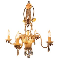 Antique French Delicately Beaded Marie Antoinette Chandelier
