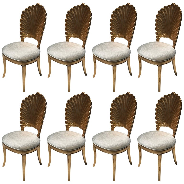 Gold Leafed Venetian Grotto Style Shell Dining Chairs  For Sale